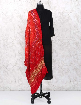 Red color gajji silk fabric dupatta