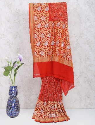 Red color georgette gharchola saree for women