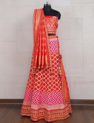 Red color georgette semi stitched bandhej lehenga choli
