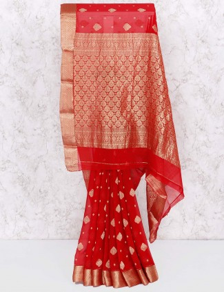 Red color gorgeous saree