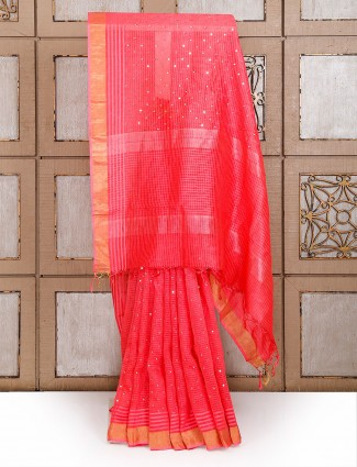 Red color Linen designer saree
