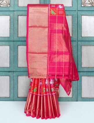 Red color patola design wedding wear saree
