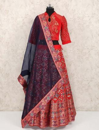 Red color patola silk wedding lehenga choli