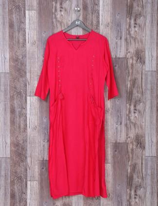 Red color plain kurti