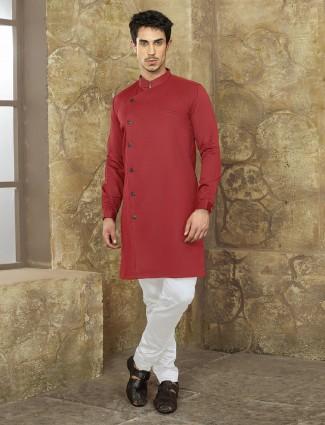 Red color plain party kurta suit
