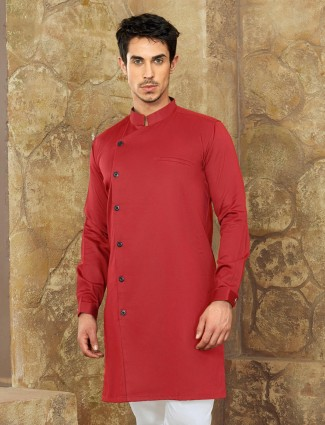 Red color plain party short pathani