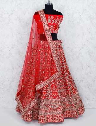 Red color pretty silk semi stitched lehenga choli