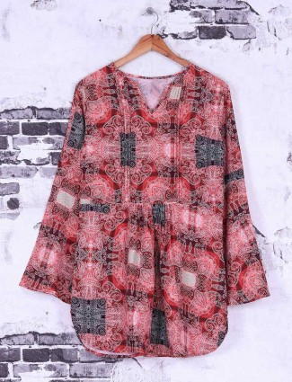 Red color printed casual top