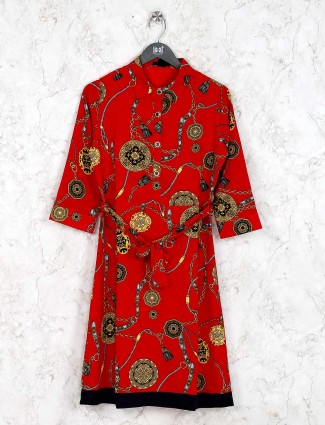Red color printed casual wear cotton kurti