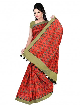 Red color printed cotton saree