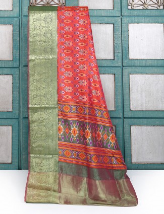 Red color printed cotton silk saree