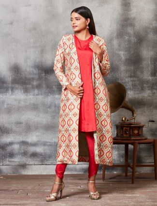 Red color printed dhoti suit with jacket