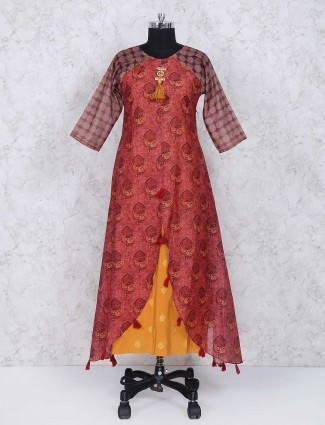 Red color printed long cotton kurti