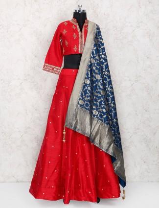 Red color raw silk designer lehenga choli