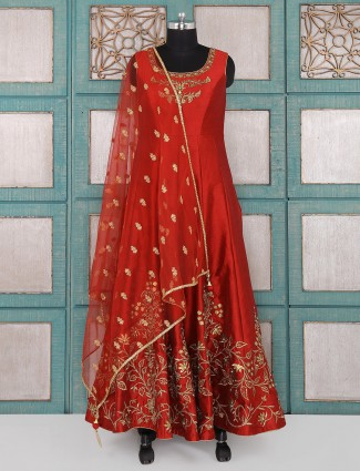 Red color raw silk fabric anarkali suit