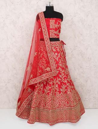 Red color raw silk lehenga choli in semi stitched
