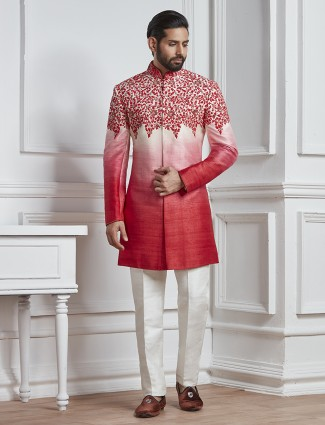 Red color raw silk semi indo western