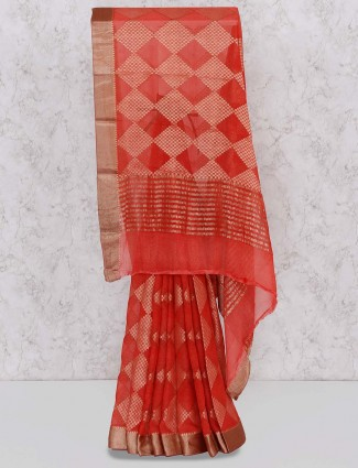 Red color saree in georgette