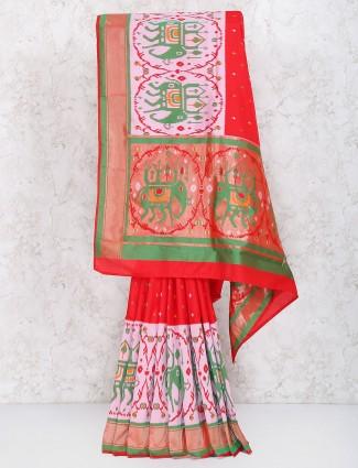 Red color saree in semi silk fabric