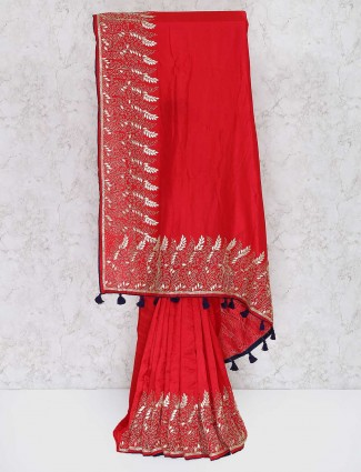 Red color semi silk wedding saree