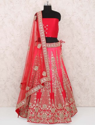 Red color silk bridal semi stitched lehenga choli