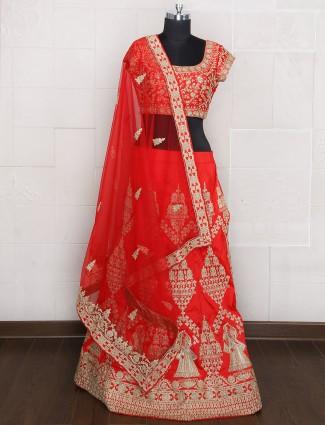 Red color silk bridal wear unstitched lehenga choli