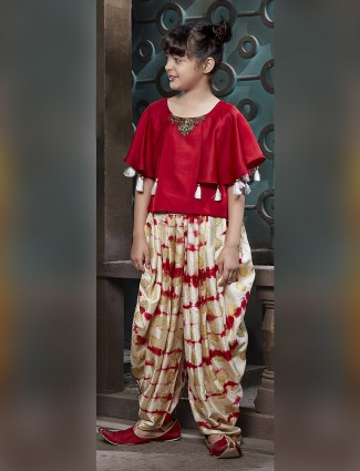 Red color silk dhoti suit