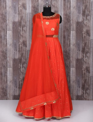 Red color silk fabric anarkali suit for festive fuction