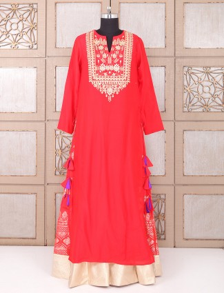 Red color silk fabric indo western