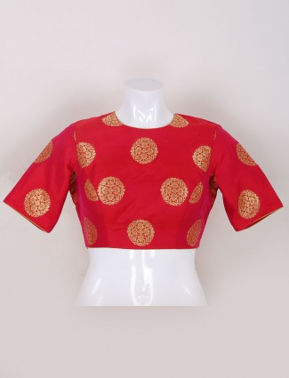 Red color silk fabric ready made blouse