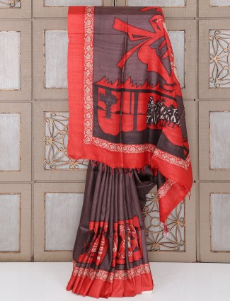 Red color silk festive wear saree