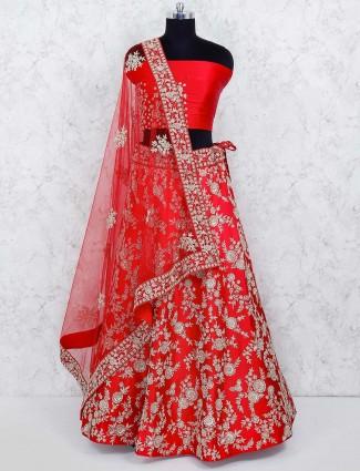 Red color silk wedding semi stitched lehenga choli