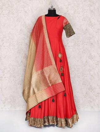 Sanchita Julka Designer Red color Silk anarkali suit