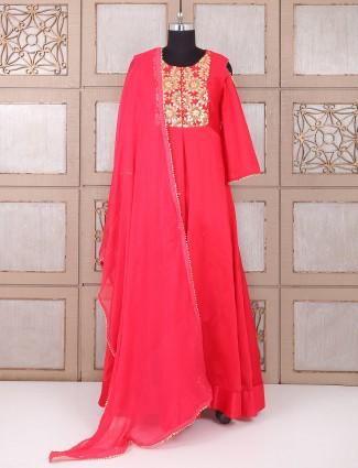 Red color silk weddingwear anarkali suit