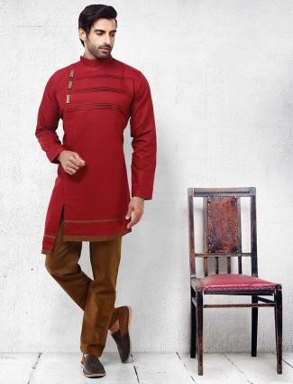 Red color solid cotton festive kurta suit