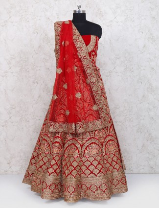Red color velvet semi stitched lehenga choli for wedding