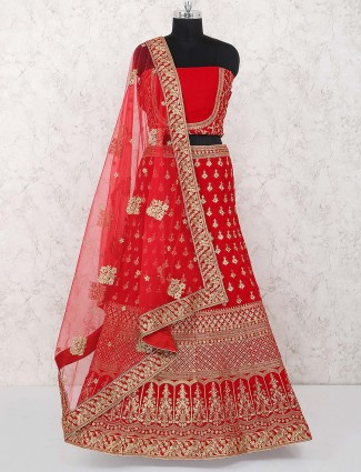 Red color velvet wedding wear semi stitched lehenga choli