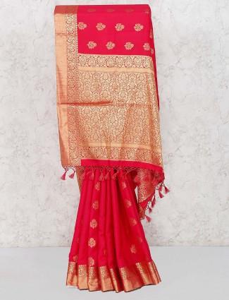 Red color wedding saree in banarasi semi silk