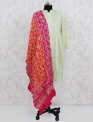 Red colored gajji silk fabric dupatta