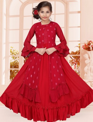 Red colored georgette designer gown