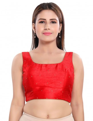 Red colored raw silk blouse for wedding