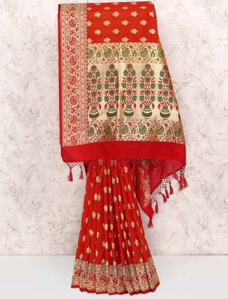 Red colored semi silk sari
