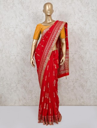 Red colour saree in dola silk for wedding event