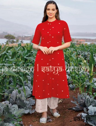 Red cotton casual chinese neck kurti