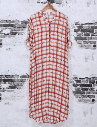 Red cotton check casual top
