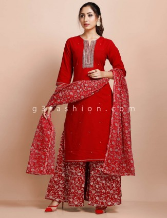 Red cotton elbow sleeves punjabi palazzo suit