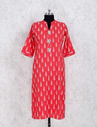 Red cotton fabric printed kurti