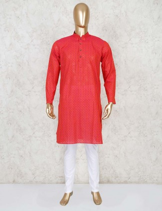 Red cotton festive wear kurta suit