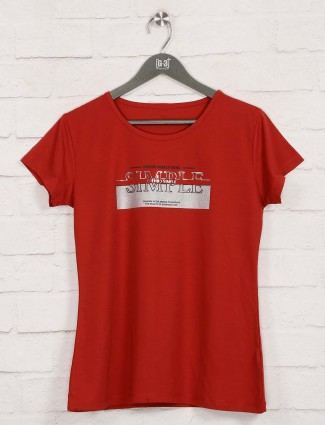 Red cotton foil printed design top