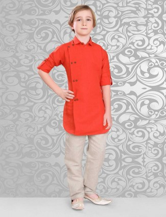 Red cotton party wear pathani suit